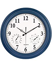 Waterproof Outdoor Clock, Metal Wall Clocks with Thermometer & Hygrometer Combo, Silent Battery Operated Decorative Clock, Large Clock for Pool/Patio/Garden/Fence/Lanai/Bathroom (18 inch, Navy Blue)