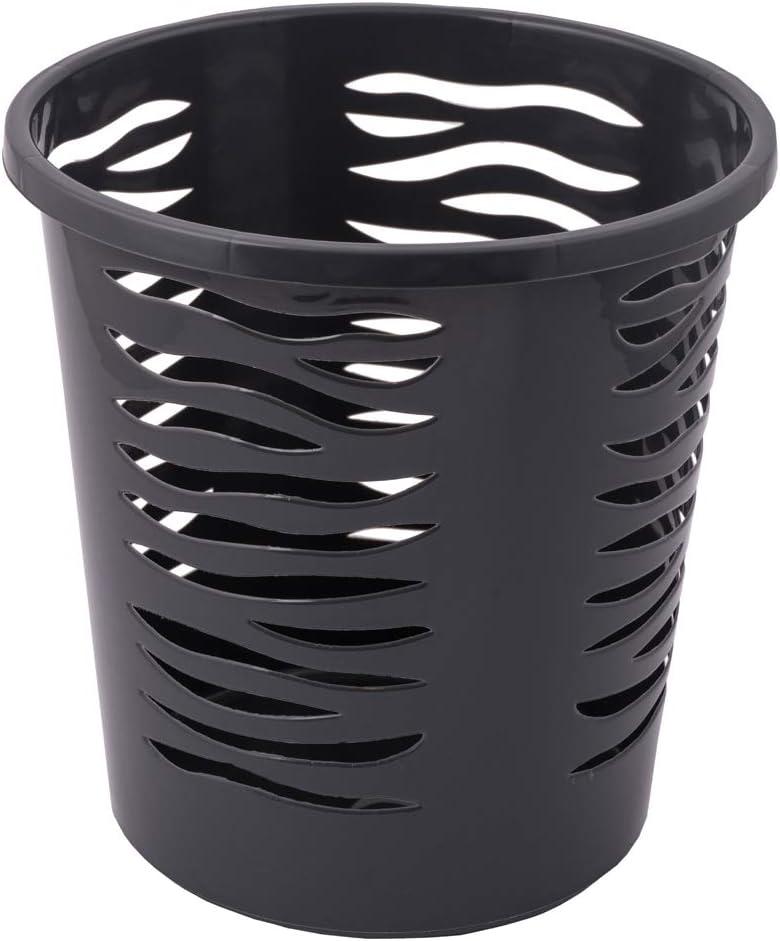 10 Unidades, pl/ástico, 26 x 26,5 cm Home essential Zebra Papelera BranQ Color Negro