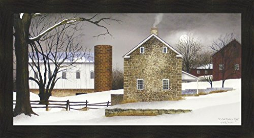 (A Cold Winter's Night by Billy Jacobs 22x40 Farm Barn Silo Snow Winter Primitive Folk Art Country Print Wall Décor Framed Picture)