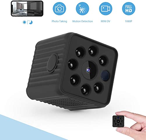 Mini Hidden Camera, 1080P Home Security Nanny Camera, Super Night Vision Portable Small Wireless Surveillance Camera, Metal Housing Magnetic Body, Perfect Hidden Camera for Home, Car, Office, Outdoor
