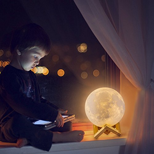 LOGROTATE Moon Lamp 3D Printing 16 Colors LED Moon Light with Stand and Time Setting (7 inch) & Remote & Touch Control, Hanging Lunar Global Lights for Birthday Party Kids Christmas Gifts