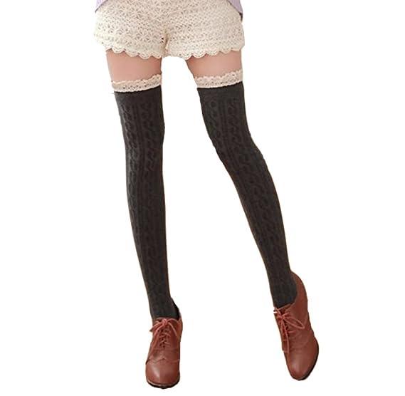 Covermason Mujer Calcetines hasta la rodilla (Gris oscuro)