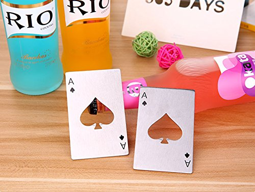 Igoolee Bottle Opener, 6 Pcs Portable Stainless Steel Credit Card Size Casino Bottle Opener for Kitchen, Bar, Restaurant or Travel