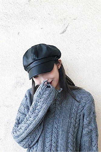 leather hat cap women girls octagonal cap autumn winter leisure korea tide unique exquisite painter cap beret black