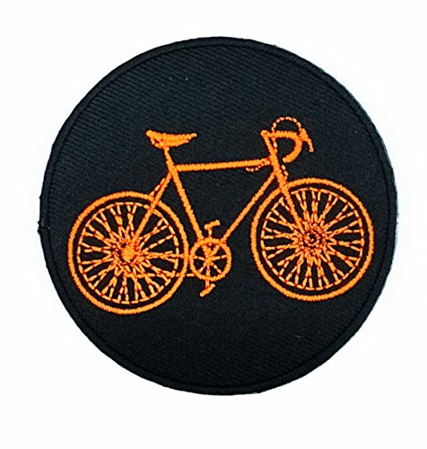 HHO Orange Bicycle Mountain Road Bike Patch Embroidered DIY Patches, Cute Applique Sew Iron on Kids Craft Patch for Bags Jackets Jeans Clothes