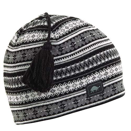 Turtle Fur Lift Line Merino Wool Nordic Style Knit Beanie, Fleece Lined Wool Hat, Black