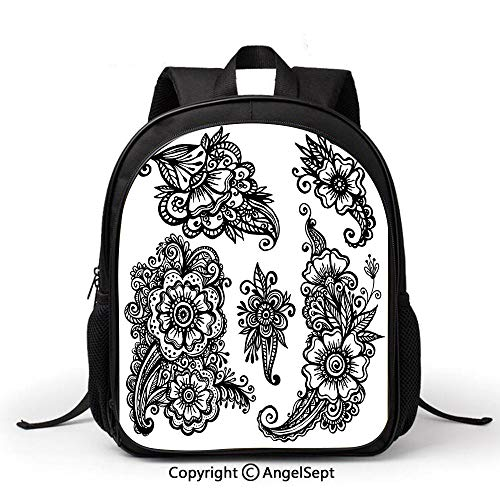 School Backpack Kids Bag Lightweigh,Henna,Hand Drawn Style Vintage Mehndi Compositions Blossoming Flowers Retro Fun Design Decorative,Black White, Simple Comfortable Fashion Bag