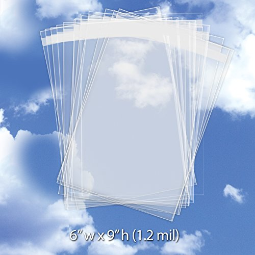 o Sleeves (6 x 9 Inch) - Resealable Crystal Clear Envelope w/Adhesive Flap - Cellophane Plastic Bag for Storing Greeting Card, Photo, Gift, Stationery (1.2 Mil) CELLO6X9CL250 ()