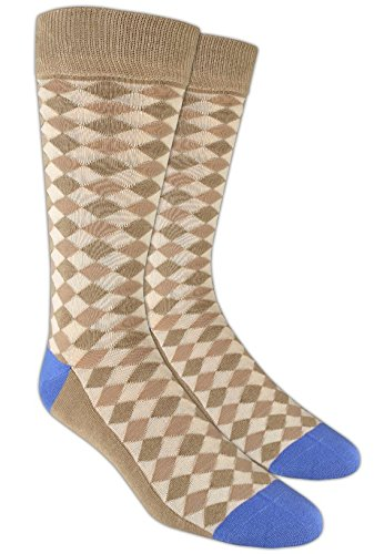 Textured Diamonds Tan and Blue Cotton Blend Dress Socks, One Size (Tan Socks Dress)