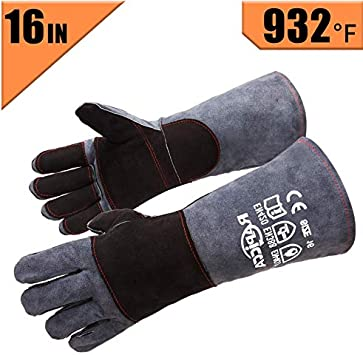 Leather Welding Finger Gloves Heat Shield Cover Hand Protective Safety Wear CA