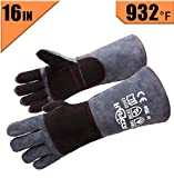 RAPICCA Leather Forge Welding Gloves Heat/Fire Resistant Mitts for Oven/Grill/Fireplace/Furnace/Stove/Pot Holder/Tig Welder/Mig/BBQ/Animal handling glove with 16 inches Extra Long Sleeve ââ'¬â€œ GreyBlack