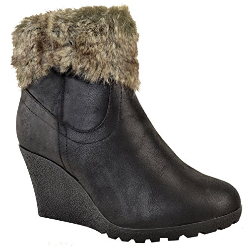Fur Wedges (Fashion Thirsty Womens Winter Faux Fur Wedge Platform Ankle Boots Zip Fluffy Lined Shoes Size 7)
