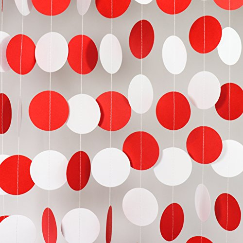 Bobee Red Party Decorations, Paper Garlands, 58 dots, 14 Feet