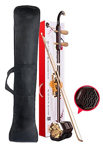 Orient Light Chinese Erhu Entry Level 2-string Violin Sinitic Chinese 2-string Violin Fiddle Sinitic Musical Instrument Traditional Handicraft Black Tracery with (Light Jazz Swing)