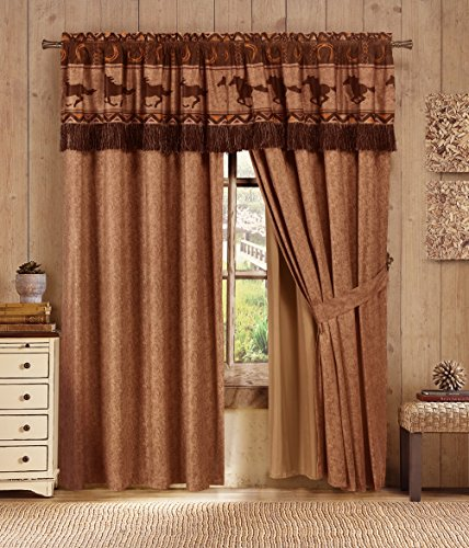 Western Bath Decor (Sedona By Chezmoi Collection 4-piece Southwestern Wild Horses Window Curtain Set)
