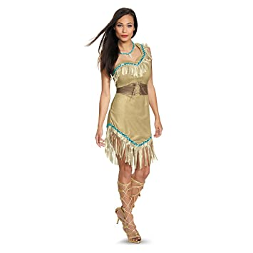 Womens Deluxe Pocahontas Fancy dress costume Medium