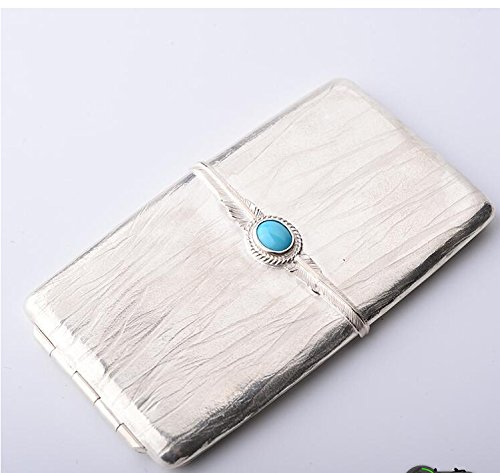 Turquoise Feather Tree Pattern 950 Silver Cigarette Case (Pattern Cigarette Case)