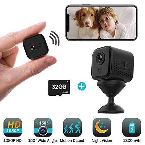 Mini Hidden Camera Wireless 32GB, 1080P HD P2P WiFi Small Portable Home Security Camera Motion Activated Video Recording Surveillance Nanny Cam Night Vision 1300mAh Battery iOS Android APP Remote