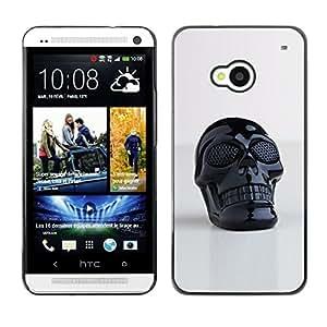 Ihec Tech Impresión del cráneo de plástico reflectante Arte 3D / Funda Case back Cover guard / for HTC One M7