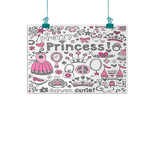 (jiangni Princess,Wall Decoration Fairy Tale Princess Tiara Crown Notebook Doodle Design Sketch Illustration W 16