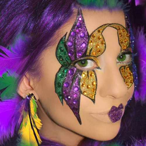 Dance Costumes Closeout - Mardi Gras At Home Professional Make Up Kit Purple Green and Gold Eye Make Up