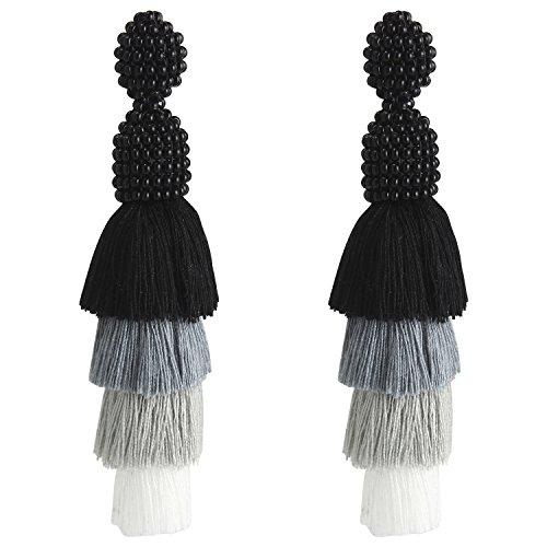 (Bonnie Tassel Earrings Beaded Four Tiered Long Fringe Dangle Drop Earrings for Women Girls (Black&White))