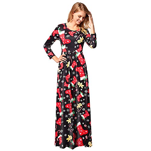 Longue 1300 Polyester Manche Rond Col Femelle Noel Robe Jupe Impression Znq0BTFw