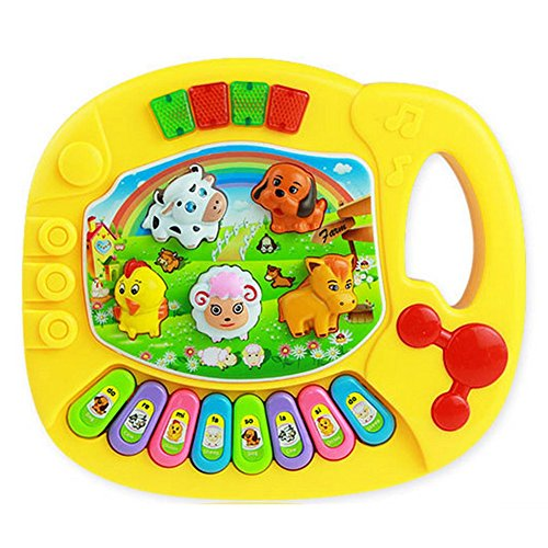 [Parit Musical Educational Animal Farm Piano Developmental Music Toy for Baby Kids Gift, Yellow] (Mini Black And White Spanish Hat)