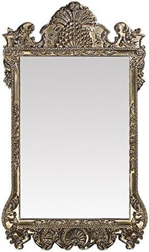 Howard Elliott Marquette Antique Oversized Mirror, Leaning Wall Ornate Mirror, Full Length, Silver Leaf, 49 x 84 x 3
