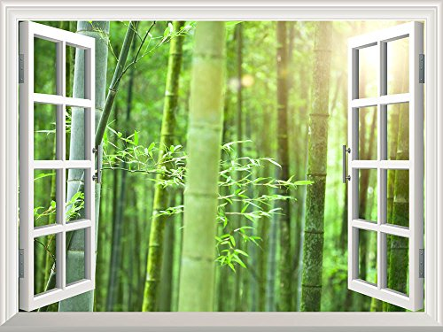 Removable Wall Sticker Wall Mural Bamboo Forest with Morning Sunlight Creative Window View Wall Decor