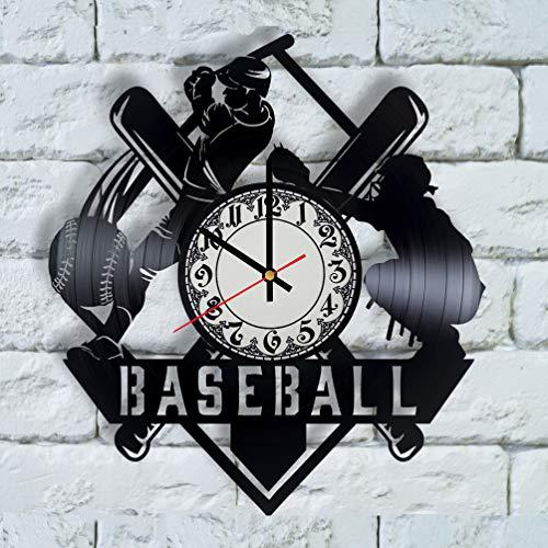 (Baseball Gifts for men, baseball wall art vinyl clock baseball decor, baseball coach gift, baseball gift ideas, sport decor for boys room)
