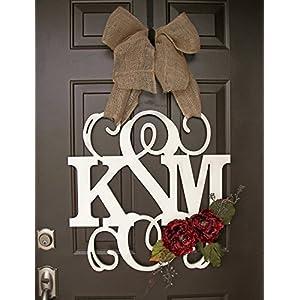 Custom Monogram Letter Wooden Door Hanger Wreath with flowers 23