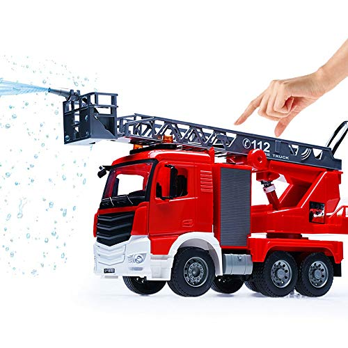 (Luccky 2019 Updated Fire Engine Toy Cars for Boys Friction Power Inertial Truck with Lights Sounds Eco Material Safe Kids Toddlers Manual Sliding Engineering Vehicle Water Spray Fire Truck Model)