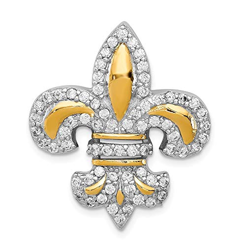 (Sterling Silver CZ Fleur de Lis Flash Gold-Slide Pendant 25 mm 28 mm Pendants & Charms)