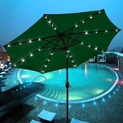 Outdoor Tilting Patio Umbrella 9u0027 Green With 32 LED Lights