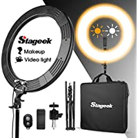 LED Ring Light, Stageek 18 Dimmable SMD LED Ring Light, 60W 5600K Bi-Color Camera Photo Video Lighting Kit with Tripod Stand, Phone Holder, for Smartphone,Youtube, Self-Portrait Makeup Video Shooting
