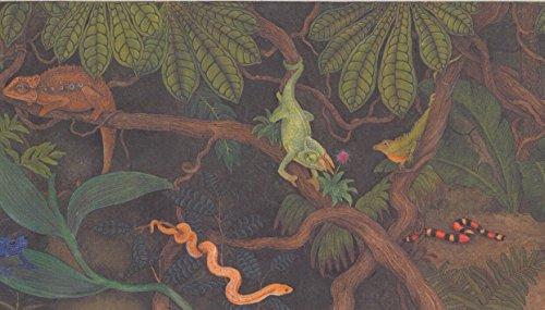- Lizards Snakes Chameleon in Jungle Kids Wallpaper Border Retro Design, Roll 15' x 6