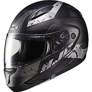 HJC Helmets Unisex-Adult Flip-Up-Helmet-Style CL-MAXBT 2 Friction Helmet (MC-5SF Black/Silver, Large)