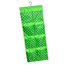 Dovewill 12 Pockets Over Door Wall Hanging Round Dots Bag Shoe Toy Hanger Storage Tidy Jewellery Organizer - Green