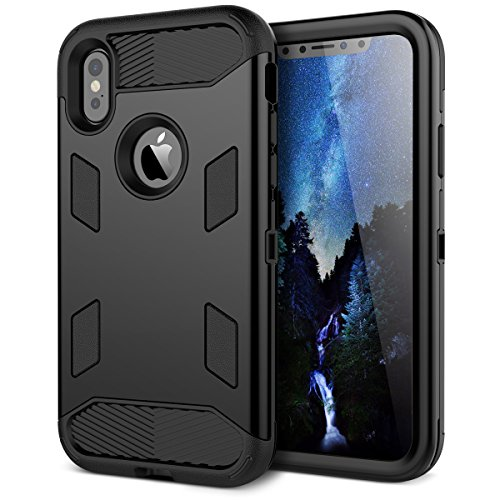 (iPhone X Case, iPhone Xs Case, WeLoveCase [Super Armor Series] Heavy Duty Hybrid Shockproof Military-Grade Rugged Protective Case Non-Slip Grip Protection Cover for iPhone X, iPhone Xs - Black )