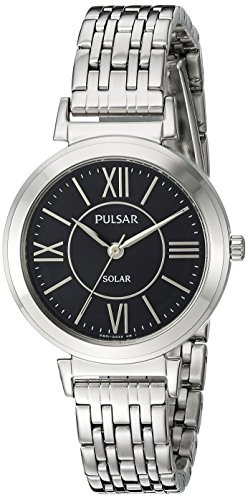 Pulsar Women's Analog-Quartz Watch with Stainless-Steel Strap, Silver, 12 (Model: PY5027