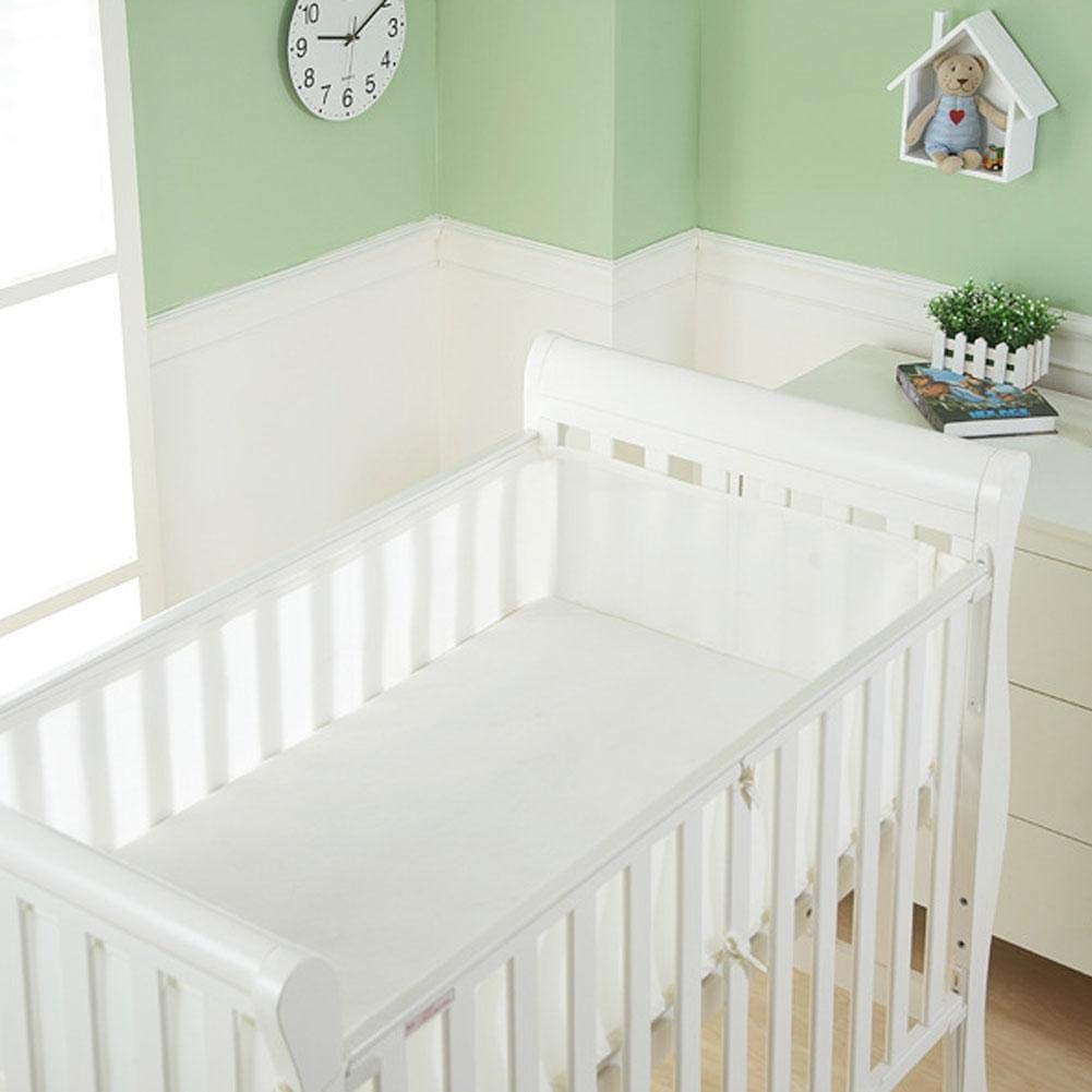 NOWAYTOSTART 4-sided breathable baby mesh crib padded double layer for extra padding without wrap risk design and solid back crib white