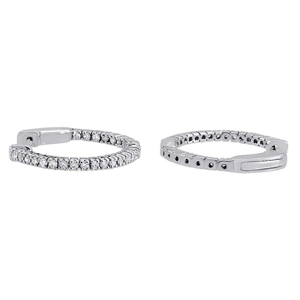 10k Real White Gold 0.50 Ct Round Cut Simulated Diamond Hoop Earrings
