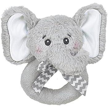 "Bearington Baby Lil' Spout Elephant Plush Ring Rattle 5.5"""