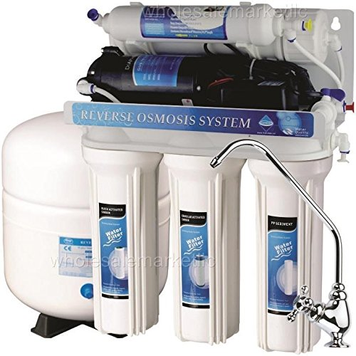 5 Stage Reverse Osmosis with Booster Pump - RO Water Filter System (50 GPD) ()