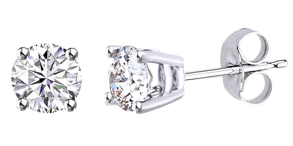 0,62 Karat Rundschliff Weißszlig; natürlicher Diamant Korb Solitaire Ohrstecker in 14 ct 585 Massiv Weißszlig; Gold 14 Karat (585) WeißGold