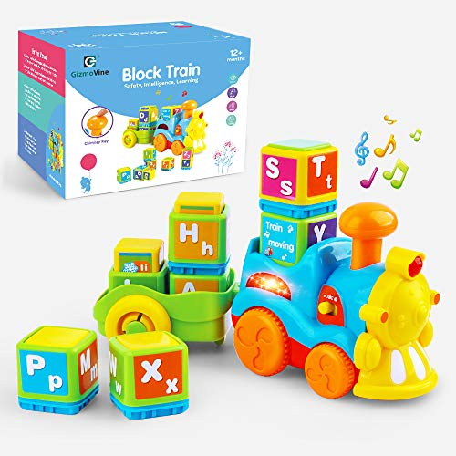 Gizmovine Learning Toys for 2 Year olds , Toddler Boy Train Toys Educational Toys Music Train Set Great Preschool Learning Toys with Letter Block Set Autism Toys for 2, 3, 4, 5, 6 Year Old (Educational Train)