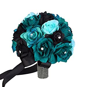 "10"" Bridal Bouquet-artificial Roses in Shades of Jade,teal,aqua,black with Rh..."