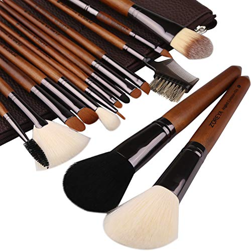 ZOREYA Makeup Brushes Premium High End- 15pc Real Walnut Handle Makeup Brush Set For Cosmetic Make Up with Leather Brush Case Holder- Eyeshadow Foundation Fan Brush Brochas De Maquillaje Profesional