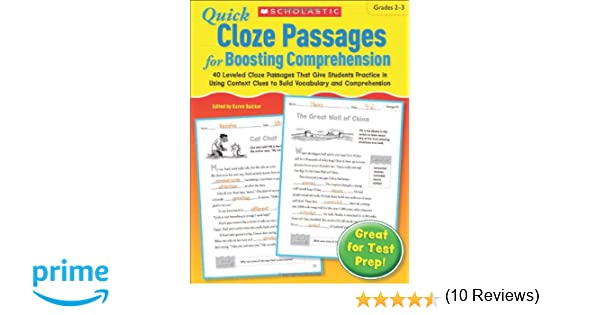 Amazon.com: Quick Cloze Passages for Boosting Comprehension 2-3 ...
